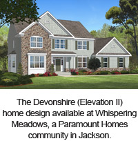 The Devonshire (Elevation II) home design available at Whispering Meadows, a Paramount Homes community in Jackson.